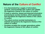 nature of the culture of conflict