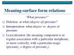 meaning surface form relations
