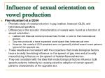 influence of sexual orientation on vowel production