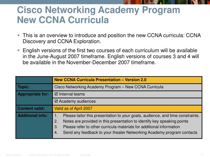 cisco networking academy program new ccna curricula n.