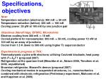 specifications objectives