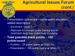 agricultural issues forum cont