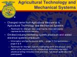 agricultural technology and mechanical systems