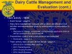 dairy cattle management and evaluation cont
