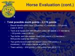 horse evaluation cont