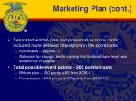 marketing plan cont