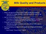 milk quality and products