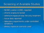 screening of available studies