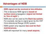 advantages of ndb