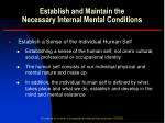 establish and maintain the necessary internal mental conditions1