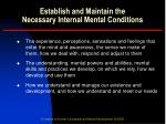 establish and maintain the necessary internal mental conditions2