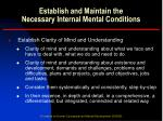 establish and maintain the necessary internal mental conditions6