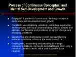 process of continuous conceptual and mental self development and growth