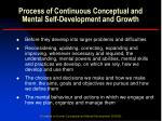 process of continuous conceptual and mental self development and growth1
