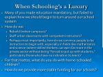when schooling s a luxury