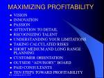 maximizing profitability