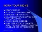 work your niche