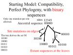 starting model compatibility perfect phylogeny with binary sequences