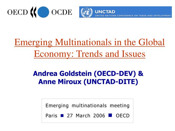 emerging multinationals in the global economy trends and issues n.