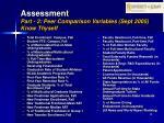 assessment part 2 peer comparison variables sept 2005 know thyself