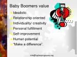 baby boomers value
