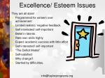 excellence esteem issues