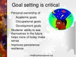 goal setting is critical
