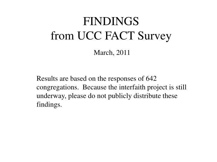 findings from ucc fact survey n.
