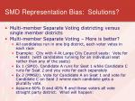 smd representation bias solutions
