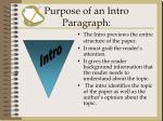 purpose of an intro paragraph