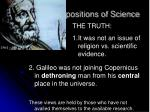 historic presuppositions of science