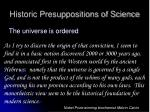 historic presuppositions of science3