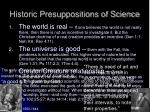 historic presuppositions of science4
