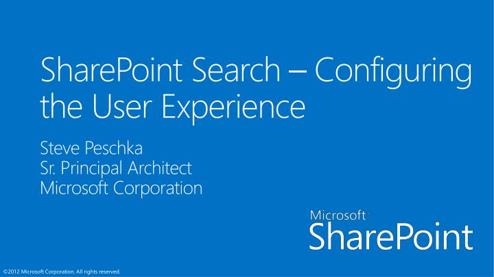sharepoint search configuring the user experience n.