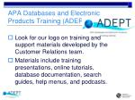 apa databases and electronic products training adept institute