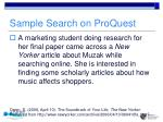sample search on proquest