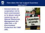 how does the law support business approach
