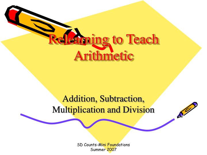 relearning to teach arithmetic n.