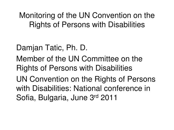 monitoring of the un convention on the rights of persons with disabilities n.