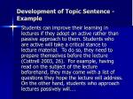 development of topic sentence example