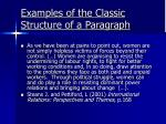 examples of the classic structure of a paragraph