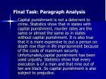 final task paragraph analysis