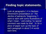 finding topic statements