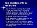 topic statements as assertions1