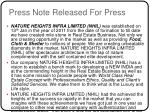 press note released for press