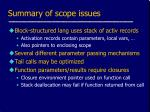 summary of scope issues