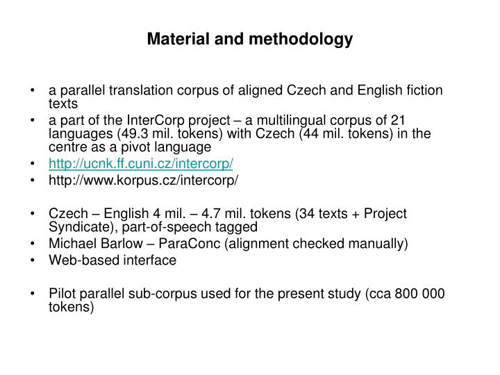 Material and methodology