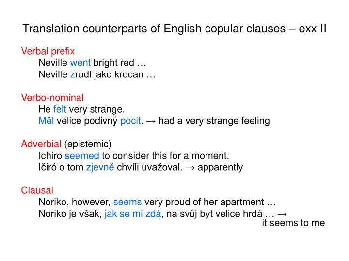 Translation counterparts of English copular clauses