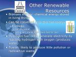 other renewable resources