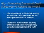 alt 6 competing causes of death observed vs relative survival